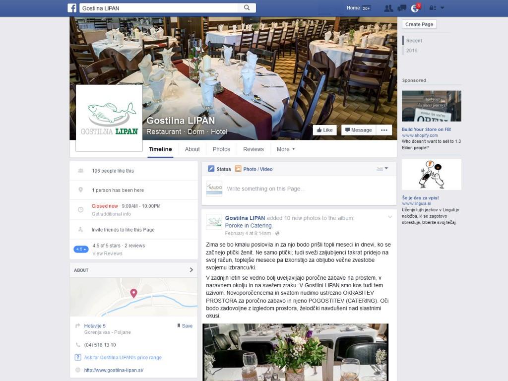 Gostilna LIPAN - Nova Facebook stran